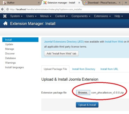 1 instal di extention manager